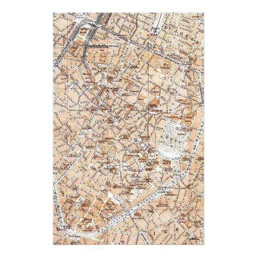 Mapa del vintage de Bruselas (1905) Papelería Personalizada