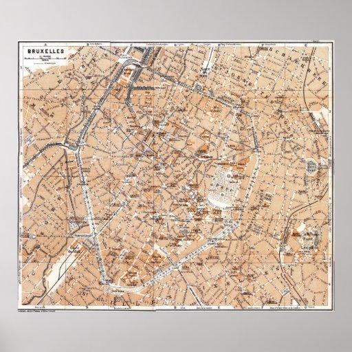 Mapa del vintage de Bruselas (1905) Póster