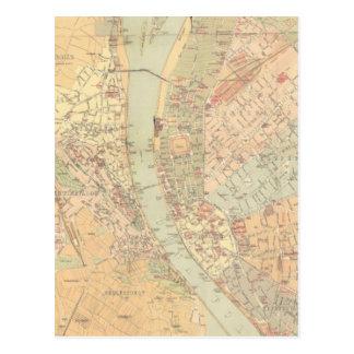 Mapa del vintage de Budapest Hungría (1884)