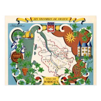 Mapa del vintage de Burdeos, Francia Postales
