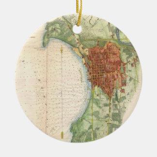 Mapa del vintage de Burlington Vermont (1763) Adorno Navideño Redondo De Cerámica