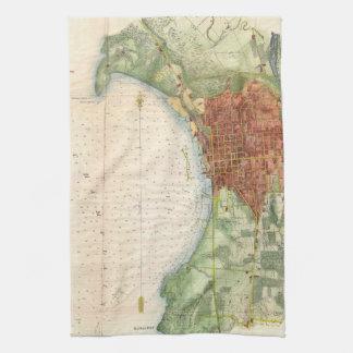 Mapa del vintage de Burlington Vermont (1763) Toalla De Cocina