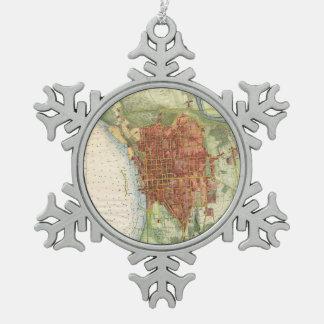 Mapa del vintage de Burlington Vermont (1872) Adorno De Peltre En Forma De Copo De Nieve