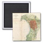 Mapa del vintage de Burlington Vermont (1872) Imán Para Frigorifico