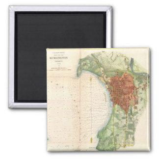 Mapa del vintage de Burlington Vermont (1872) Imán Cuadrado