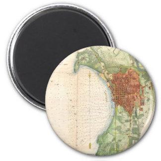 Mapa del vintage de Burlington Vermont (1872) Imán Redondo 5 Cm