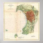 Mapa del vintage de Burlington Vermont (1872) Posters