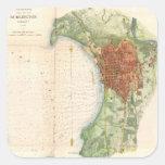 Mapa del vintage de Burlington Vermont (1872) Calcomania Cuadradas Personalizadas