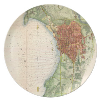 Mapa del vintage de Burlington Vermont (1872) Platos Para Fiestas