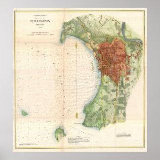 Mapa del vintage de Burlington Vermont (1872) Póster