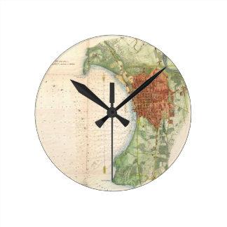 Mapa del vintage de Burlington Vermont (1872) Reloj Redondo Mediano