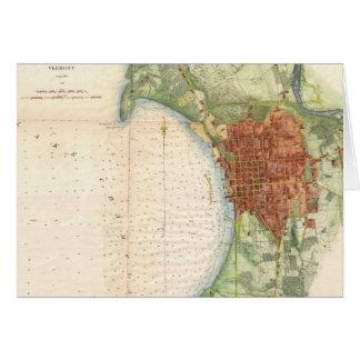 Mapa del vintage de Burlington Vermont (1872) Tarjeta De Felicitación