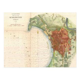 Mapa del vintage de Burlington Vermont (1872) Tarjeta Postal