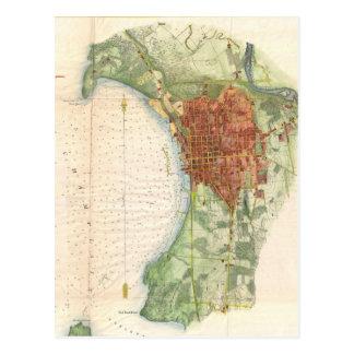 Mapa del vintage de Burlington Vermont (1872) Tarjetas Postales