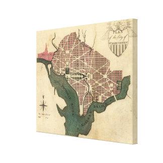 Mapa del vintage de C.C. de Washington (1793) Impresiones En Lienzo Estiradas
