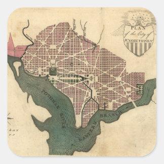 Mapa del vintage de C.C. de Washington (1793) Pegatina Cuadrada