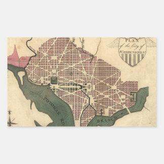 Mapa del vintage de C.C. de Washington (1793) Pegatina Rectangular