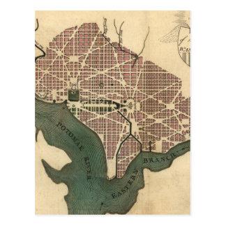 Mapa del vintage de C.C. de Washington (1793) Postales