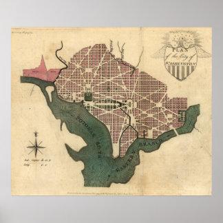 Mapa del vintage de C.C. de Washington (1793) Póster