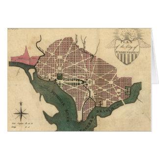 Mapa del vintage de C.C. de Washington (1793) Tarjeta De Felicitación