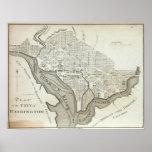 Mapa del vintage de C.C. de Washington (1794) Poster
