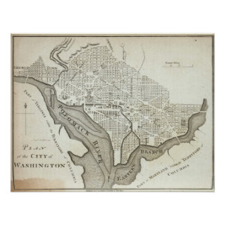 Mapa del vintage de C.C. de Washington (1794) Póster