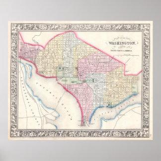 Mapa del vintage de C.C. de Washington (1864) Póster