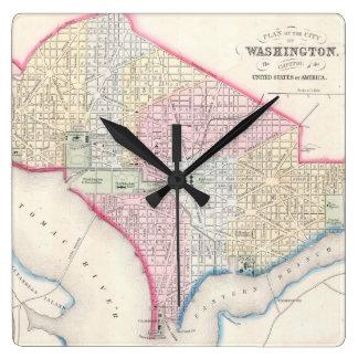 Mapa del vintage de C.C. de Washington (1864) Relojes De Pared