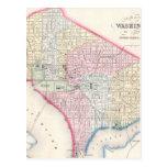 Mapa del vintage de C.C. de Washington (1864) Tarjeta Postal