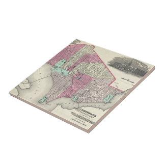 Mapa del vintage de C.C. de Washington (1866) Tejas Ceramicas