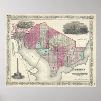 Mapa del vintage de C.C. de Washington (1866) Posters