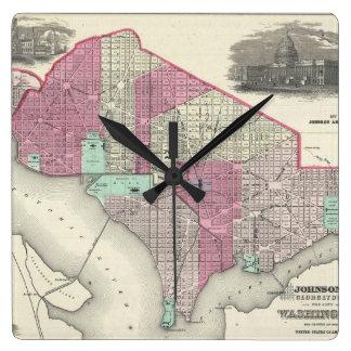 Mapa del vintage de C.C. de Washington (1866) Reloj Cuadrado