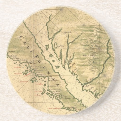 Mapa del vintage de California (1650) Posavasos Personalizados