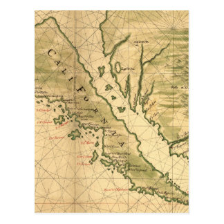 Mapa del vintage de California (1650) Postales