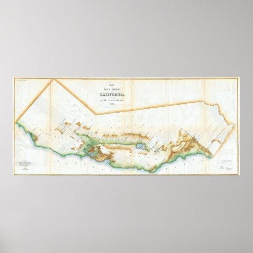 Mapa del vintage de California (1854) Impresiones