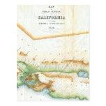 Mapa del vintage de California (1854) Postal