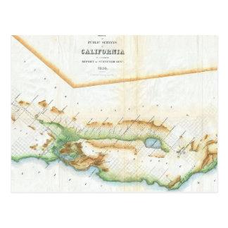 Mapa del vintage de California (1854) Tarjetas Postales