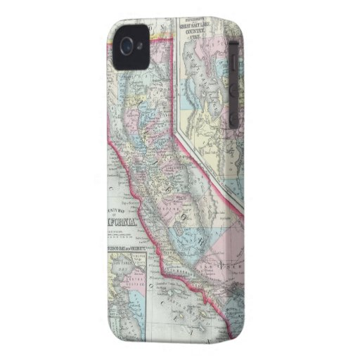 Mapa del vintage de California (1860) iPhone 4 Case-Mate Cárcasas