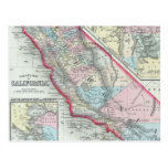 Mapa del vintage de California (1860) Postal
