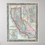 Mapa del vintage de California (1860) Poster