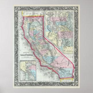 Mapa del vintage de California (1860) Póster