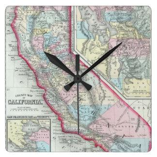 Mapa del vintage de California (1860) Reloj Cuadrado