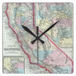 Mapa del vintage de California (1860) Relojes De Pared