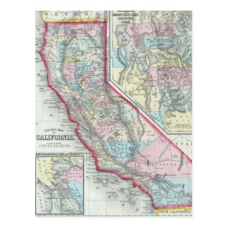 Mapa del vintage de California (1860) Tarjetas Postales