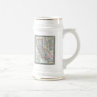 Mapa del vintage de California 1860 Tazas De Café