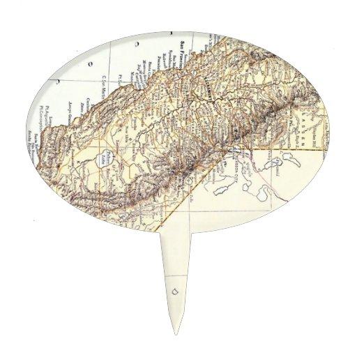 Mapa del vintage de California (1878) Figura Para Tarta