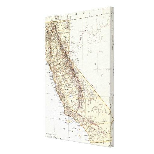 Mapa del vintage de California (1878) Impresiones En Lienzo Estiradas
