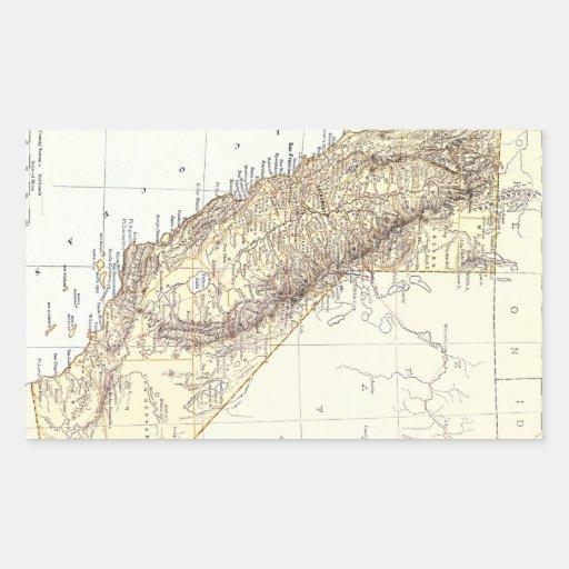 Mapa del vintage de California (1878) Pegatina Rectangular