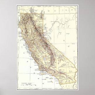 Mapa del vintage de California (1878) Póster
