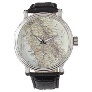 Mapa del vintage de California (1878) Relojes De Mano
